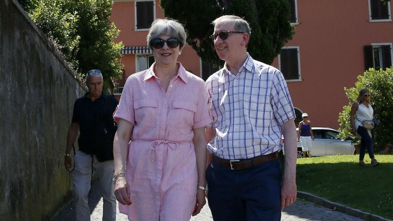 Theresa May and Philip May on holiday in Italy