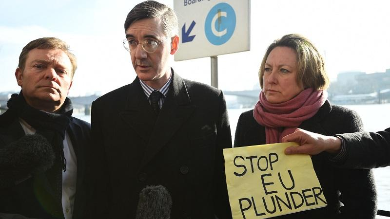 Jacob Rees Mogg at fish protest