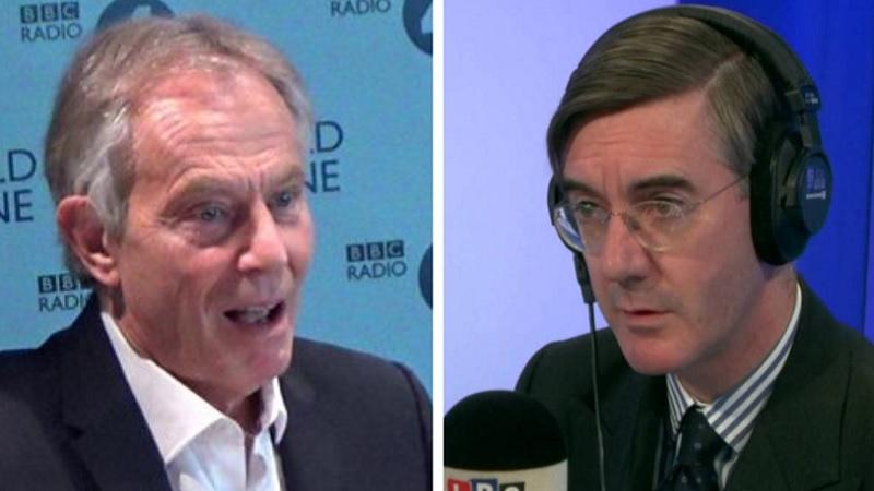 Tony Blair and Jacob Rees Mogg